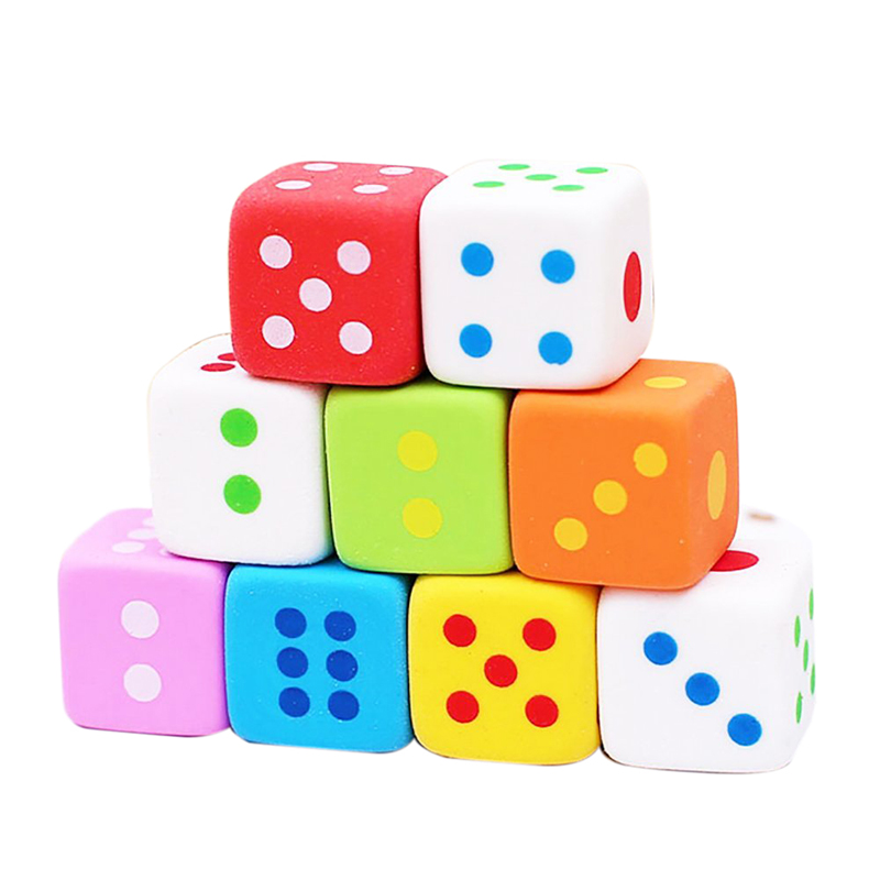 9 Pieces Novelty Dice Style Pencil Eraser Rubber Stationery Kid Gift Toy
