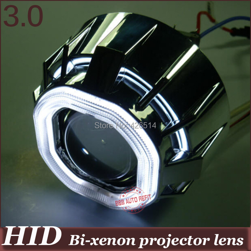 3 inch Double Angel Ring HID headlight Lens 35w H1 H4 H7 H11 9005/6 Bi-xenon Projector Lens kit CCFL Devil Eye for auto auto motorcycle 35w 2 inch hid bixenon projector lens headlight kit 6000k 4300k blue green red yellow white ccfl angel eye