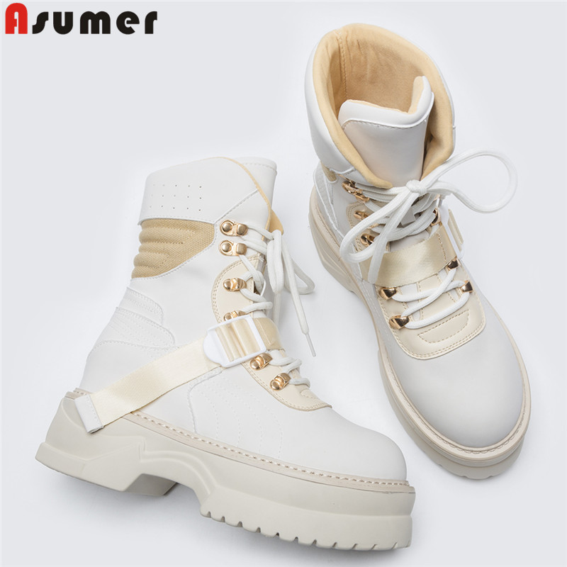 ASUMER Plus size 35-42 New High quality women boots buckle round toe platform shoes autumn winter ankle boots ladies shoes ASUMER Plus size 35-42 New High quality women boots buckle round toe platform shoes autumn winter ankle boots ladies shoes