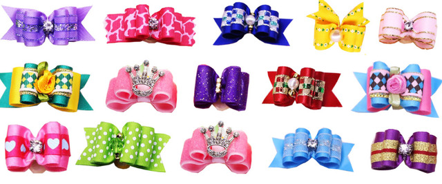 120PCS Mix Designs Pet Dog Bows with Rhinestone Crown Pearl Pet Dogs Bows Bowknot  Dog Hair Bows Grooming Accessories Product 2