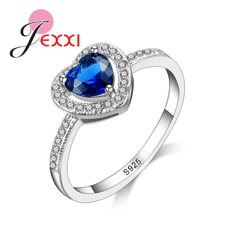 PATICO Romantic 925 Silver Rings For Women With Heart Shape Rings Engagement Ladies Charm Jewelry Finger Ring