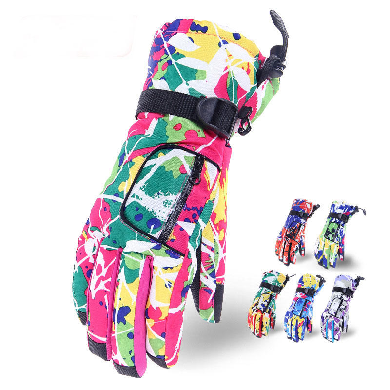 Colorful Outdoor Soft Thickening Warm Snowboard Gloves Outdoor Winter Skiing Gloves Sports Waterproof Windproof Ski Gloves