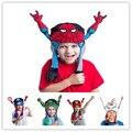 Детские Hat Earflap Дети Человек-Паук Железный Человек Капитан Америка boy девушки Танцуют Ветрозащитный Cap Новорожденных Flipeez Шапочка Уха Сальто Эльф зима