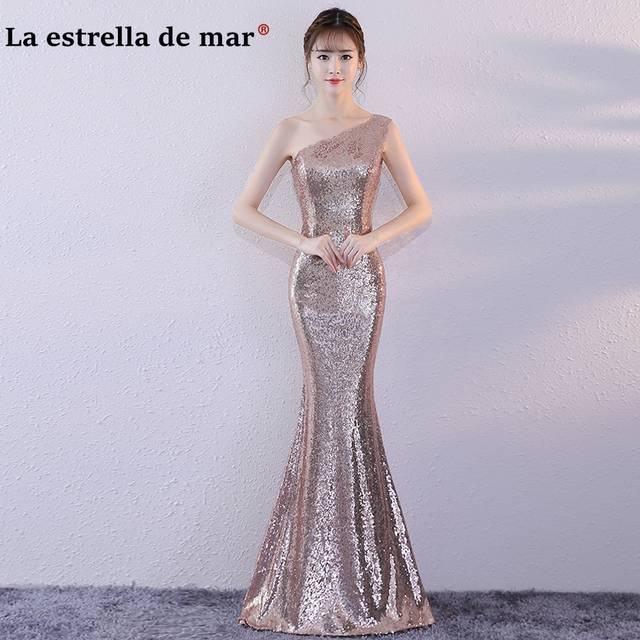 placeholder Vestido madrinha 2019 sequins one shoulder sexy mermaid gold  rose gold Champagne bridesmaid dress long gaun e8fdeb5db44a
