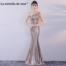 robe demoiselle d honneur2018 new one shoulder sexy mermaid rose gold  sequins bridesmaid dresses long cheap vestidos de madrinha 48bd66395623