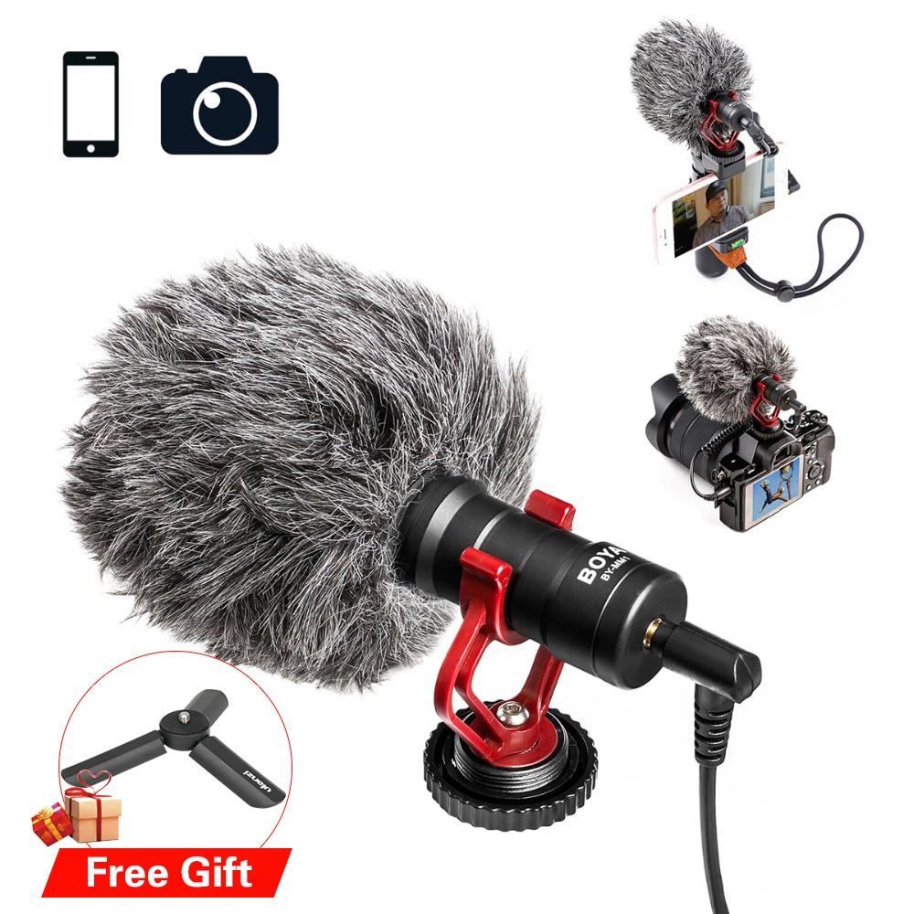 BOYA BY-MM1 Microphone Caméra Vidéo Interview Mic Avec Froid Chaussures Plaque Mini Trépied Stand Pour Lisse Q Vlogging Youtube