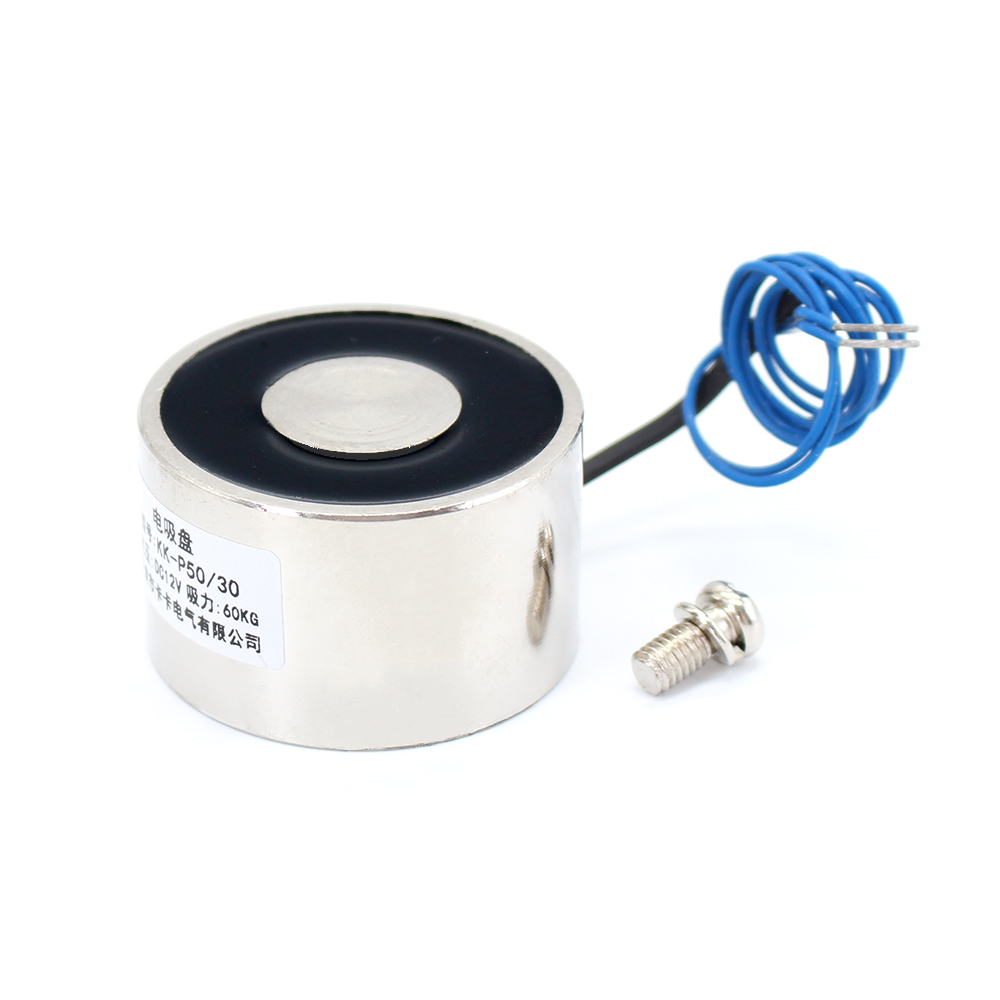 F50/30 DC 6V 12V 24V Cylinder Electromagnet Lifting 60KG 600N Solenoid Strong Sucker Holding Electric Magnet custom 50 30 dc 6v 12v 24v waterproof energized hold electromagnet 60kg sucker electric magnet coil portable lift powerful 12 solenoid