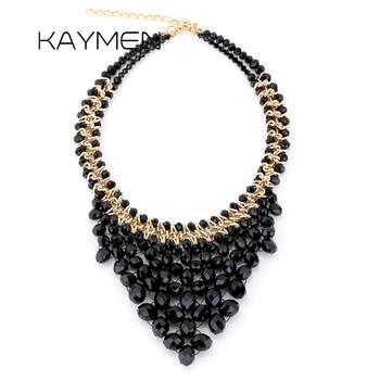 b05a5f67d208 KAYMEN nueva moda cristales hechos a mano tejido collar de Gargantilla para  boda fiesta chica COLLAR