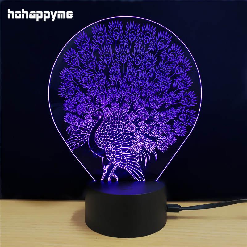 Led Sign Home Decor: Peacock 3D LED Light Sign Acrylic LED Sign Home Decor Gift