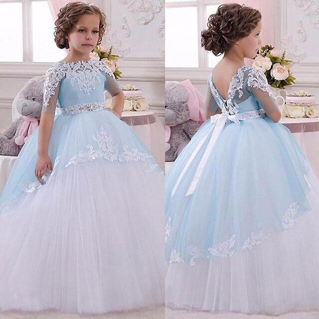 Princess Pageant Dresses Blue Ball Light