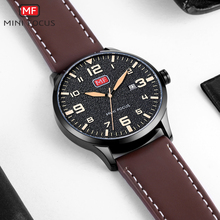 лучшая цена MINI FOCUS Sport Casual Quartz Watch Men Brown Leather Strap Arabic Number Calendar Waterproof Mens Watches Top Brand Luxury