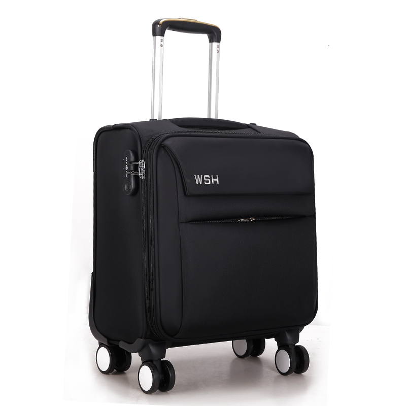 Wholesale!16inches men and women commercial travel luggage bags on universal wheels,black computer trolley luggage business bag