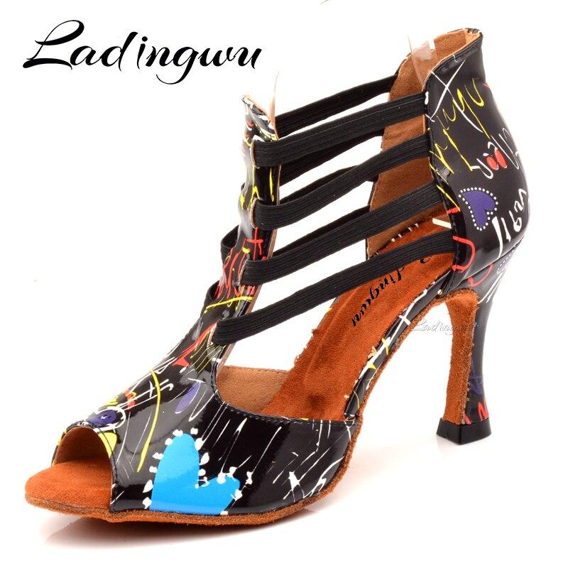 Ladingwu New Dance Boots Woman Custom PU Latin Dance Shoes Girls Ladys Salsa Dance Shoes Tango Paty Ballroom Dance Shoes Heel 9c