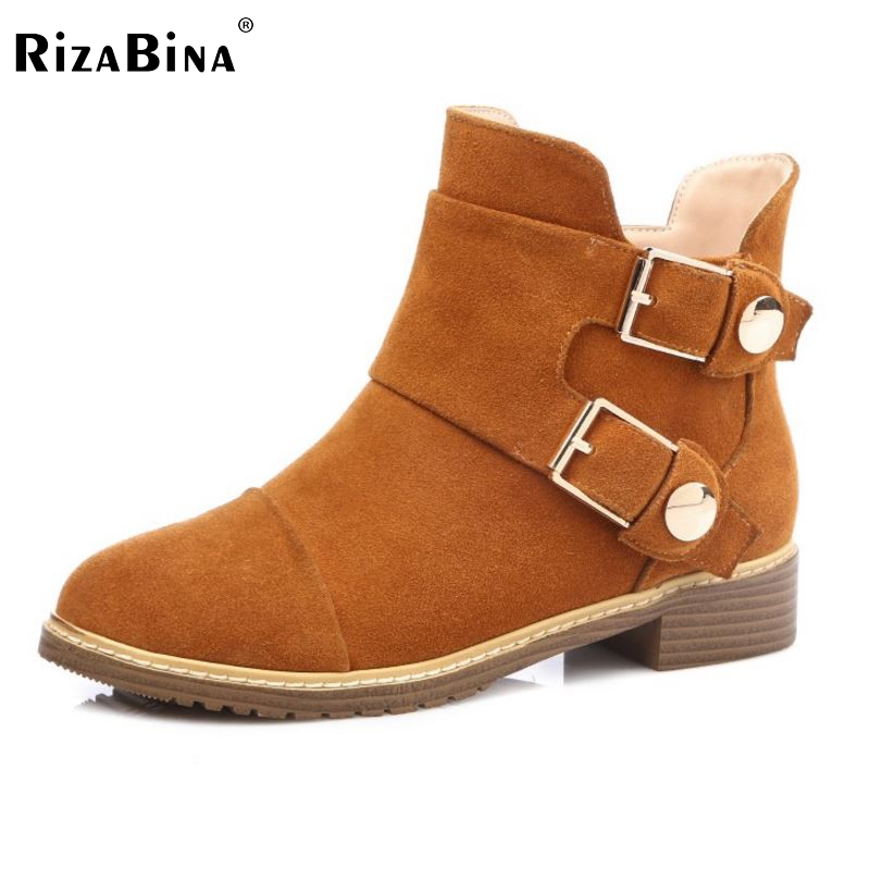 ФОТО New Real Leather Ankle Boots Zip Fashion Autumn Winter Short Shoes Women Boots Fashion Round Toe Metal Shoes Size 31-45