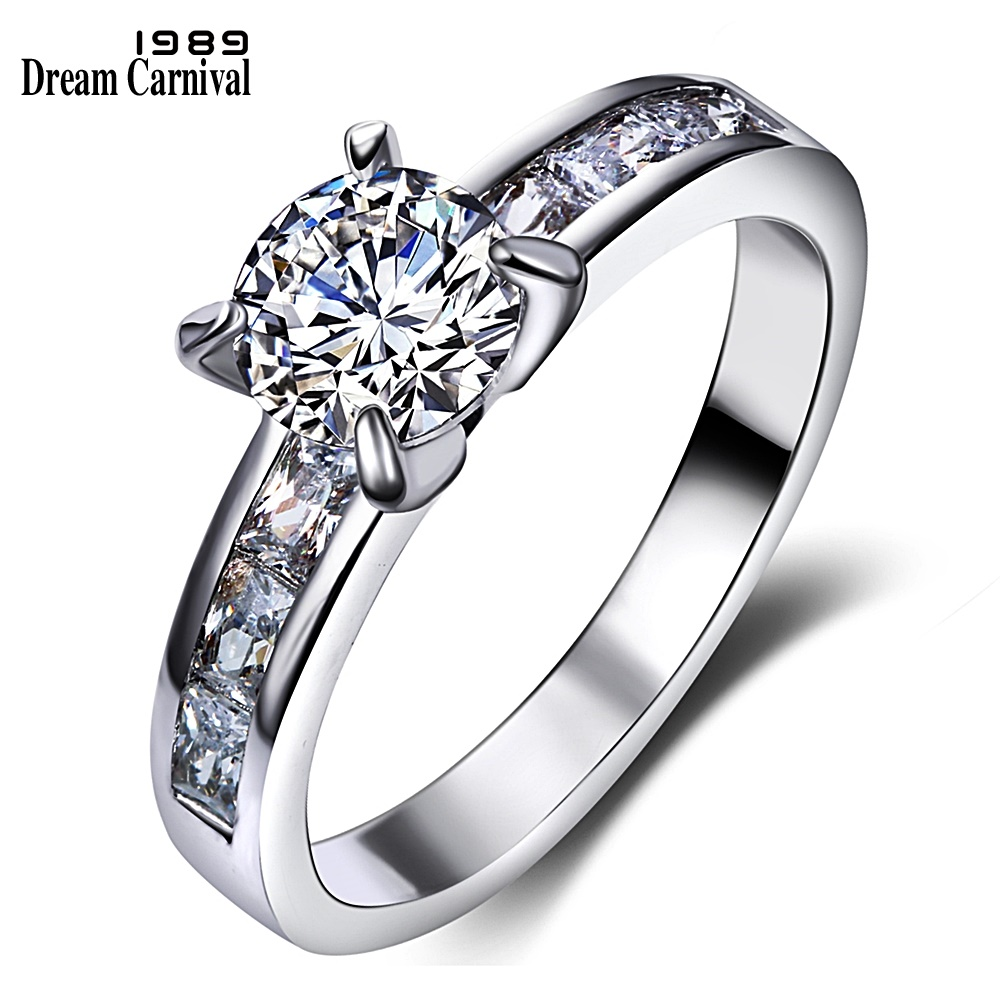 DreamCarnival1989 Solitaire Ring for Women Engagement CZ Wedding Fashion Jewelry Rhodium ...