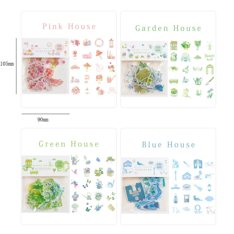 Купить с кэшбэком 40pcs/lot Lovely Color house series Sticker Pack Paper Sticker Decoration Diy Ablum Diary Scrapbooking Label Stickers