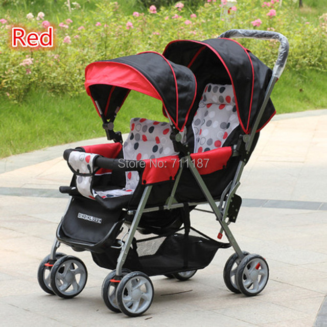 Twins baby stroller double baby car double stroller cart front and rear folding light Baby Double Strollers Free Shipping!