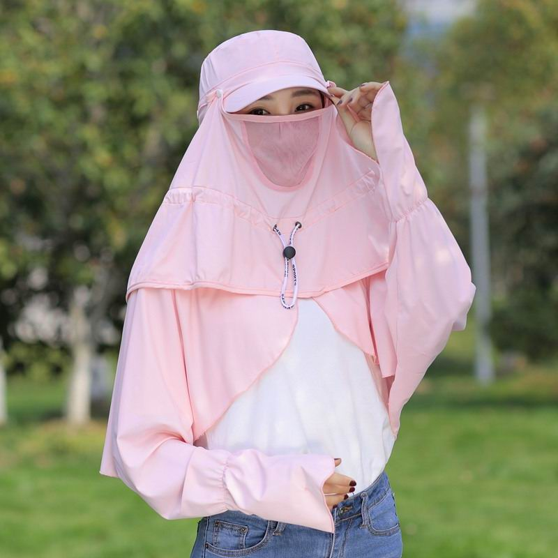 9aaf29d16 US $13.19 30% OFF|Long Arm Sleeve And Face Neck Full Protection Women Sun  Hat Summer Ice Cool Female Sets Outdoor Cycling Protection Sets Thin-in ...