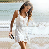 CUERLY Spaghetti Strap Backless Mini Summer Dress Women Embroidery Cotton Lace Up White Hollow Out Female Beach Dress Vestido L8
