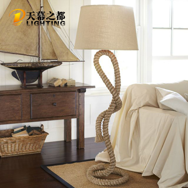 American Country Twine Floor Lamp Retro Living Room Dining Lights Bedroom Hotel Bars And Clubs