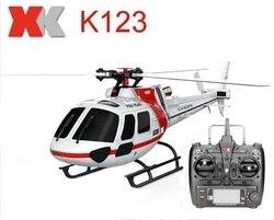 Oryginalny XK K123 6CH bezszczotkowy AS350 skala 3D6G System RC helikopter RTF aktualizacji WLtoys V931