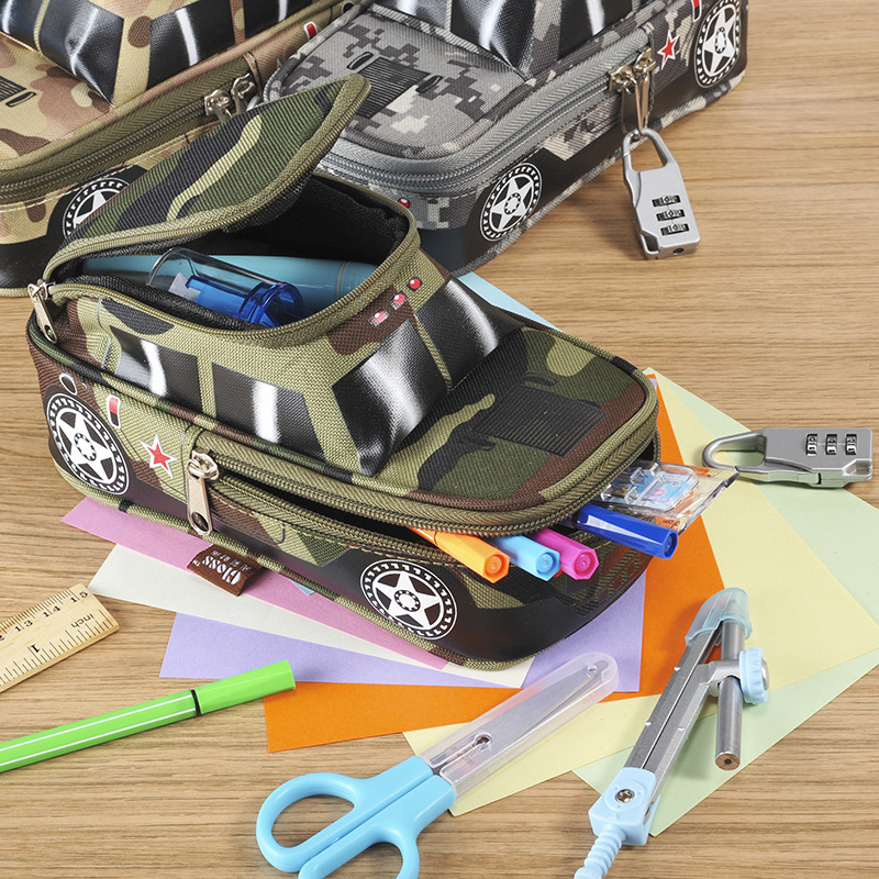 2018 Portable Oxford Camouflage boy Car pouch Style large Pencil Case vehicle Bag Pen Holder School Supply with Combination Lock big capacity high quality canvas shark double layers pen pencil holder makeup case bag for school student with combination coded lock