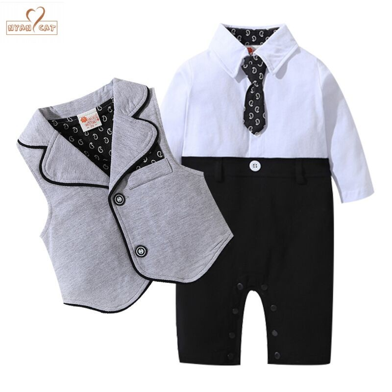 NYAN CAT Baby Boys Clothes gentleman Bow tie Romper outfit Winter Warm 2pc Suit  Outfit Romper Waistcoat Birthday Wedding party 63aa3e56aa15