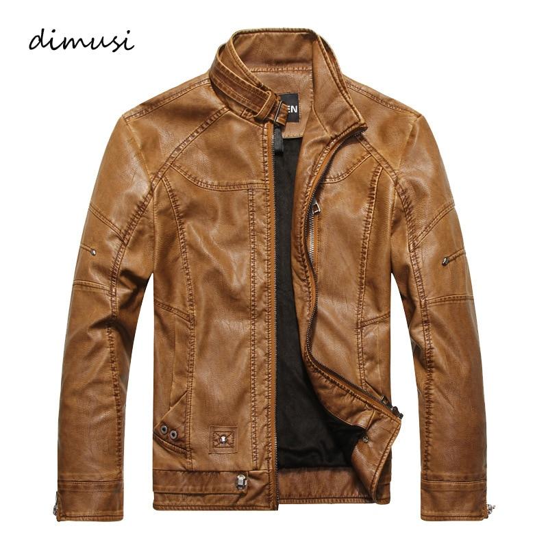 DIMUSI Vīriešu rudens ziemas ādas jakas Motociklu ādas jakas Vīriešu biznesa ikdienas mēteļi Zīmola apģērbi veste en cuir, YA349