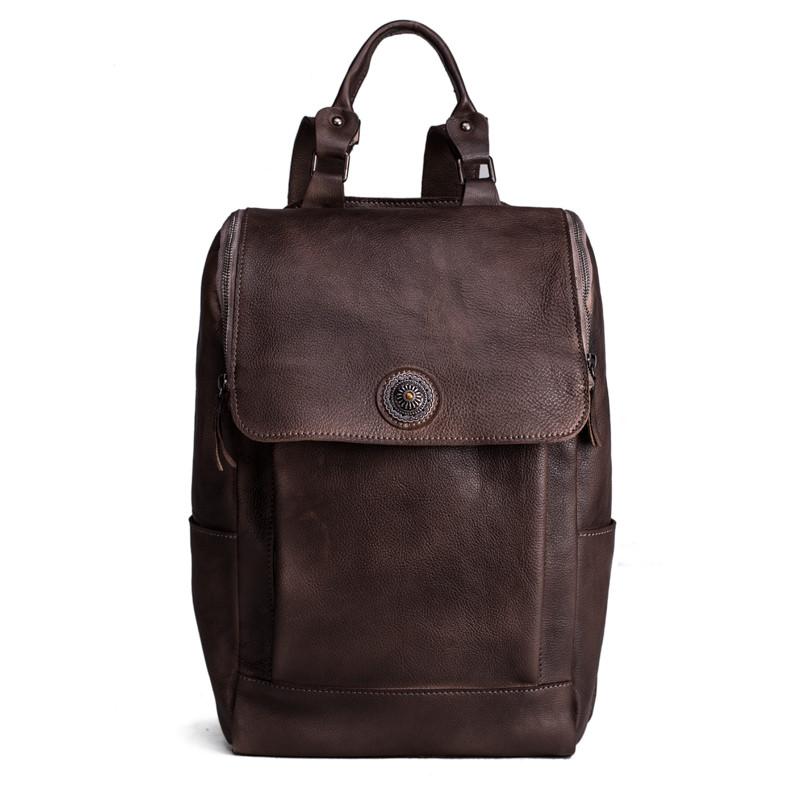Handmade Vegetable Tanned Leather Backpack Rucksack Travel Backpack School Backpack 8