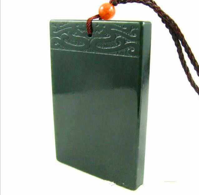 Natural hetian jade QINGYU Square talisman magical magic pendant size 58*36*7mm