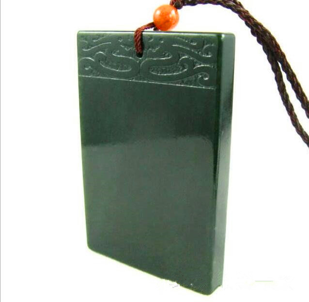Natural hetian jade QINGYU Square talisman magical magic pendant size 58*36*7mm title=