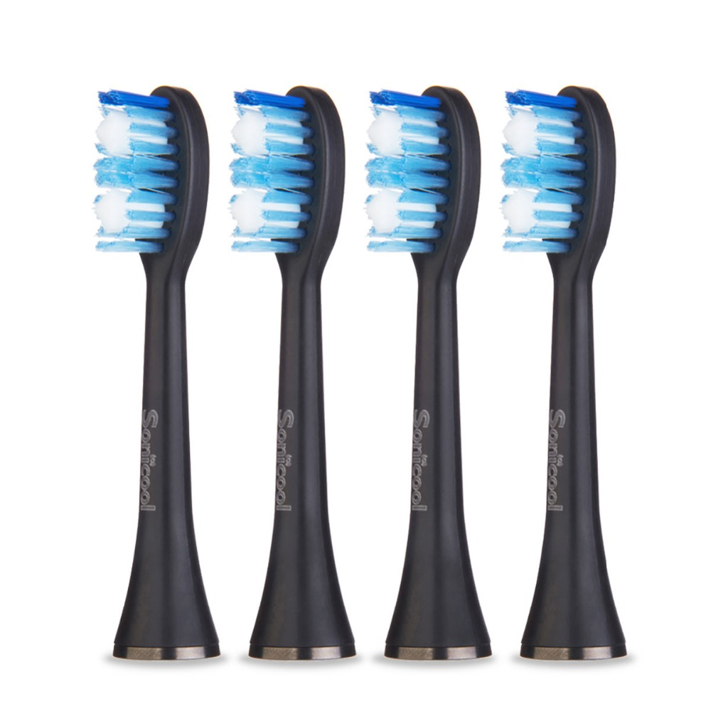 4 Pieces/set Replacement Electric Brush Heads For Sonicool 051B And OBella 071B Black/White Toothbrush Head Clean Mix Brush Head