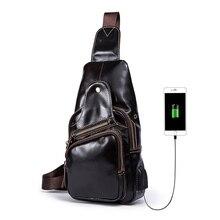 цена на 2019 High Quality Men Genuine Leather Cowhide Vintage Sling Chest Bag Day Pack Travel fashion Cross Body Messenger Shoulder Bag