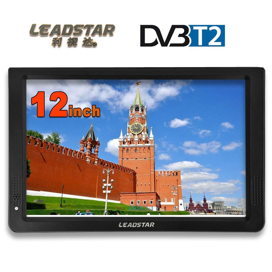 LEADSTAR HD TV portátil 12 pulgadas Digital y analógico Led televisores apoyo TF tarjeta USB Audio Video Player televisión Coche DVB-T2