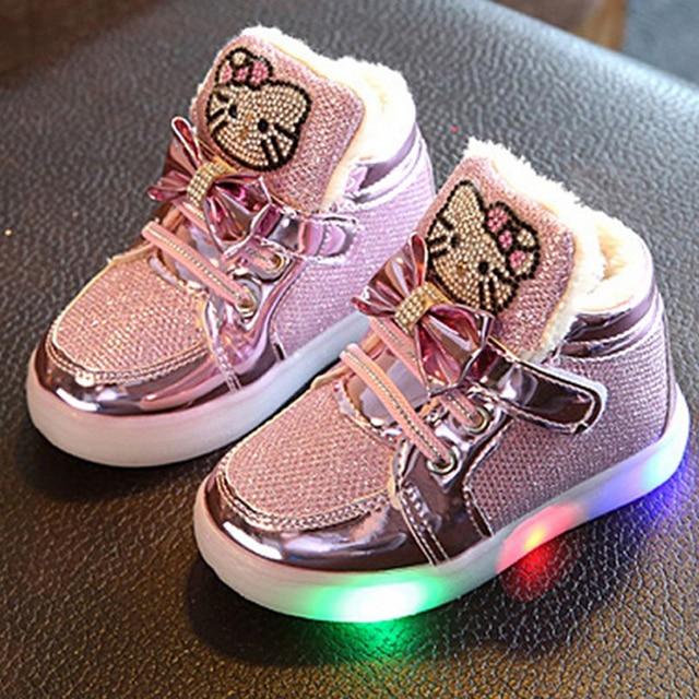 separation shoes d90df ed2f2 US $8.99 |Neue Winter Kinder Led Schuhe Jungen Mädchen Pu leder Baumwolle  Schuhe Kinder Glowing Sneakers Lässige Leuchten Schuh Strass Kleinkind in  ...