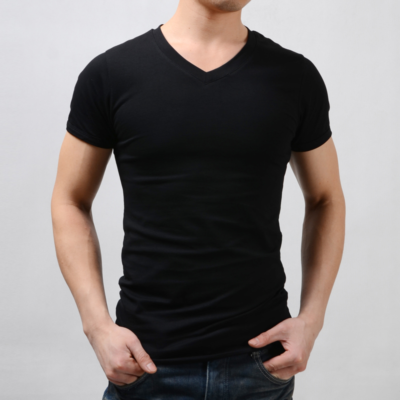 Tight t-shirt Men short-sleeve V-neck blank t-shirt male sports slim autumn and winter basic shirt black fashion clothing