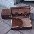 COHIBA High Quality Travel Cigar Case Brown Leather and Cedar Wood  Humidor