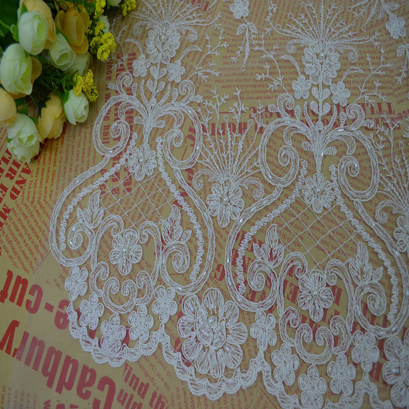 Buy luxury beaded lace wedding fabric for Wedding dress lace fabric