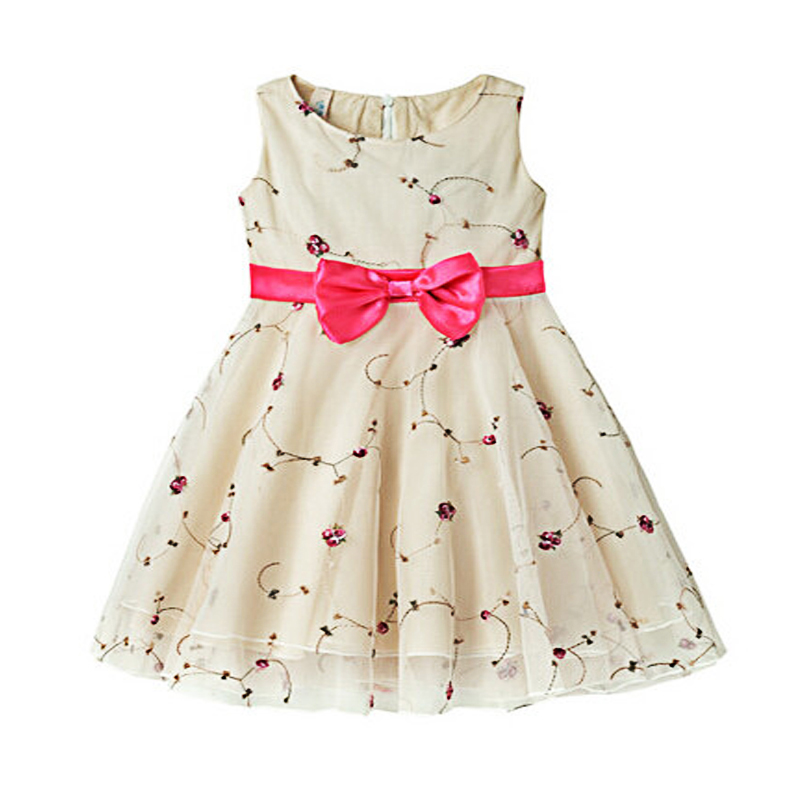 Children Girls Summer Sleeveless Bow Cotton Floral A-line  Knee-length  Pricecess Dresses