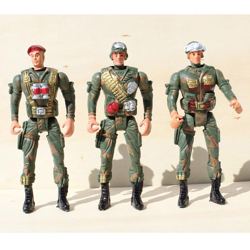 Military model 14cm plastic soldiers five movable joint birthday boys favorite model Christmas gift 3 pcs/lot Free shipping