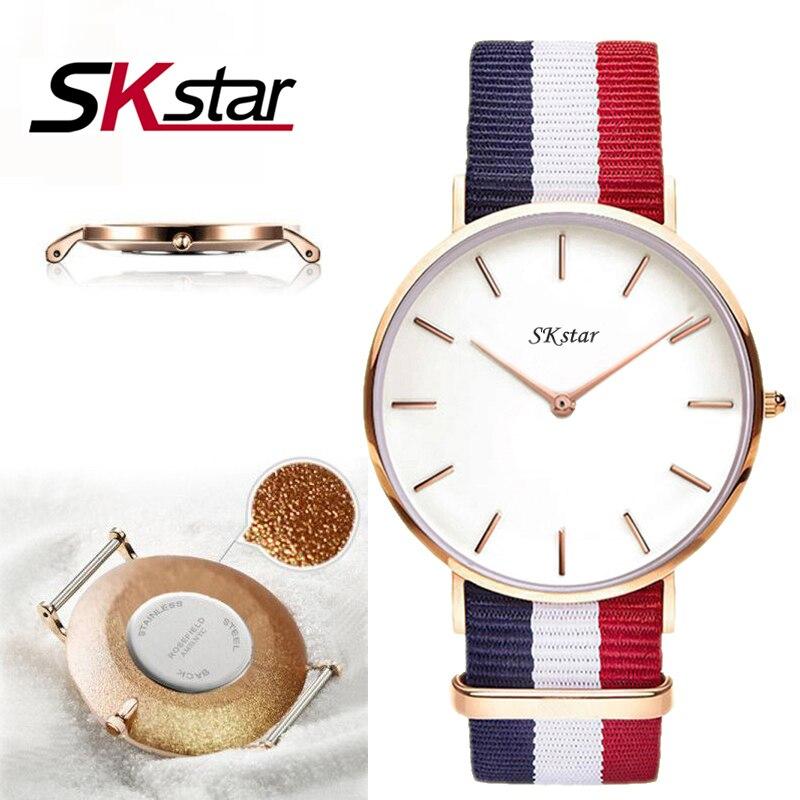 2017 Women Fashion Wrist Watch Brand SKstar dw Classical Nylon Womenes Quartz Wrist Watch Famous