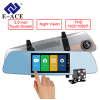 E ACE Car Dvr 5 Inch Touch Screen Rearview Mirror Super Night Vision 1080P Dash Camera
