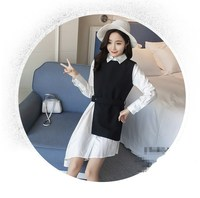 Shirt Dress Women S Suit Two Piece Set Long Sleeve Lace Up Black White Asymetrical Vest