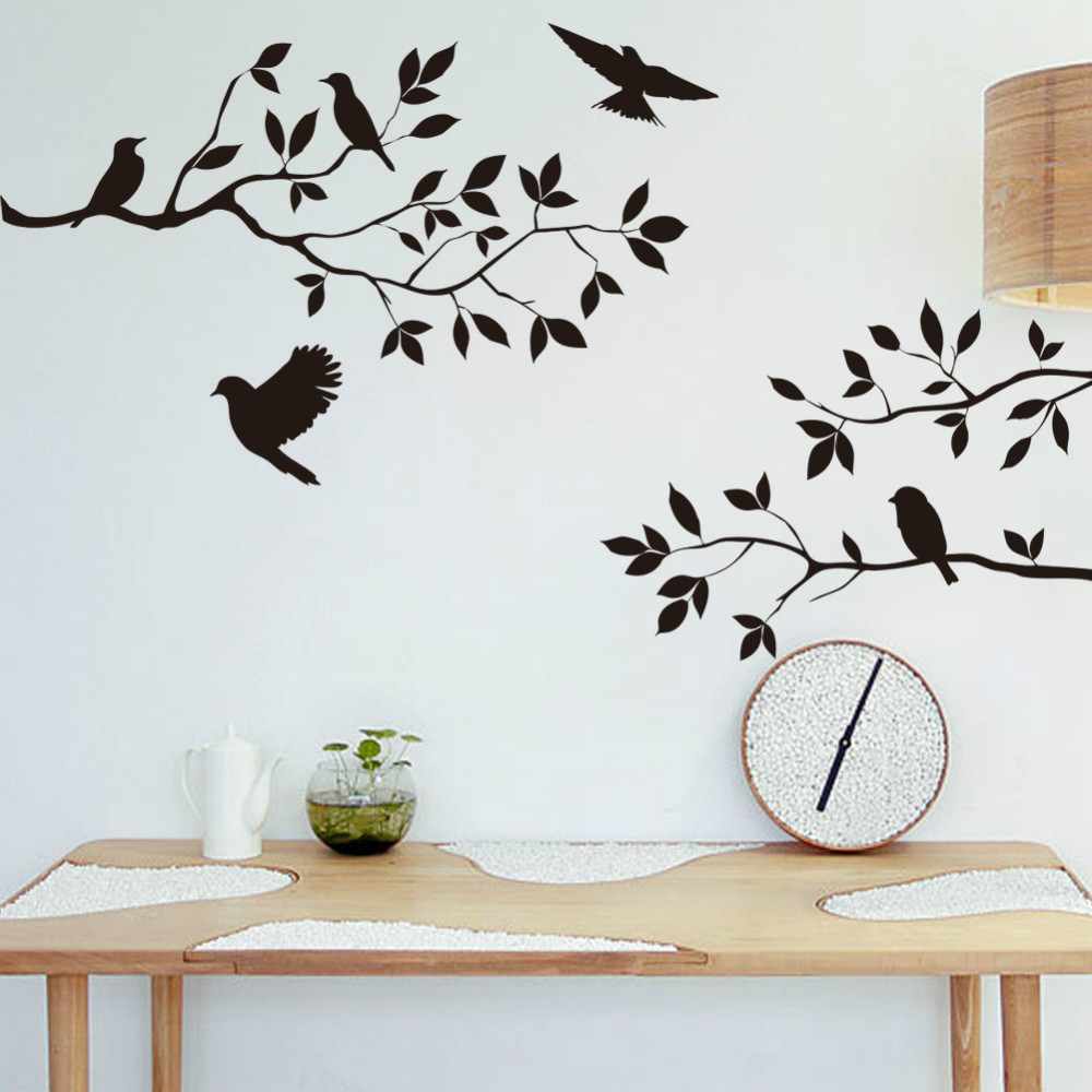 decoration birds on the tree removable wall decals stickers living  - decoration birds on the tree removable wall decals stickers living roomfurniture decor mural art stickerin wall stickers from home  garden on