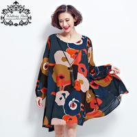 New Spring Dress Plus Size Tops Woman Chiffon Dress Long Sleeve Clothes Floral Print Loose Vintage