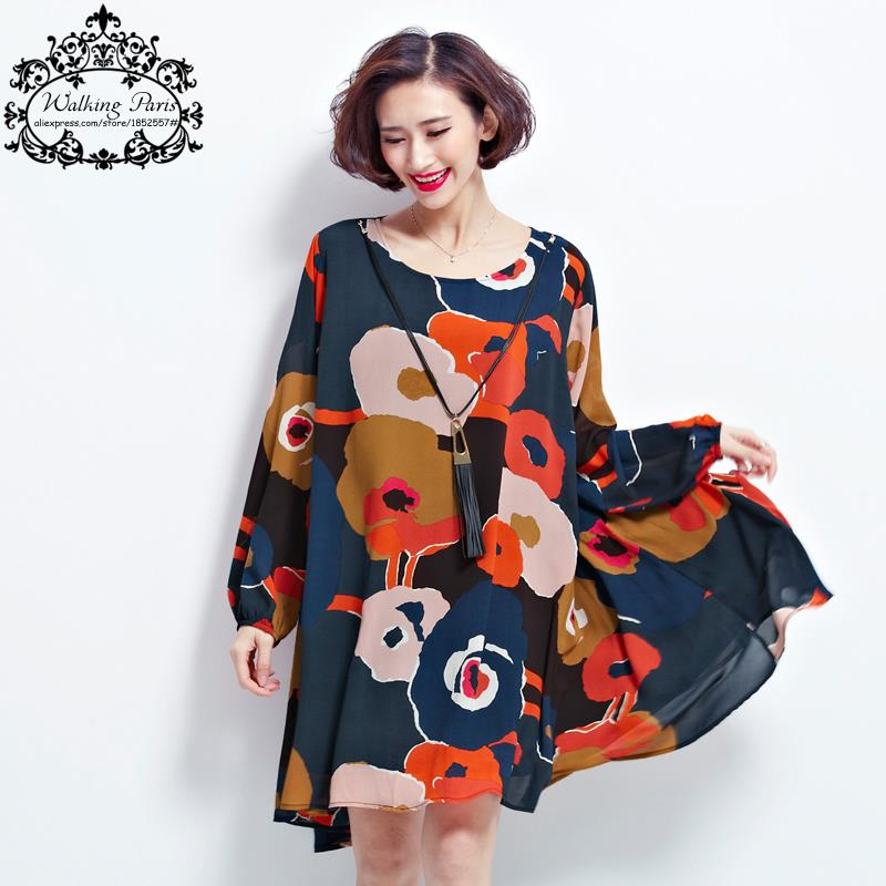 US $29.8  New Spring Dress Plus Size Tops Woman Chiffon Dress Long Sleeve  Clothes Floral Print Loose Vintage Lady Casual Fashion Dress-in Dresses  from ...