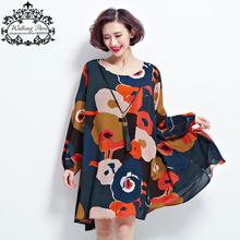 New Spring Dress Plus Size Tops Woman Chiffon Dress Long Sleeve Clothes Floral Print Loose Vintage Lady Casual Fashion Dress