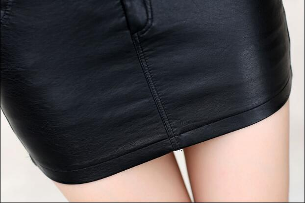 2018 autumn and winter Fashion casual sexy female women girls pencil black mini PU skirts clothes