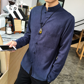 Colors Men Cotton Linen Long sleeve Kung Fu Shirt Classic Chinese Style Tang Clothing Plus Size hombre Camisa Slim Outerwear