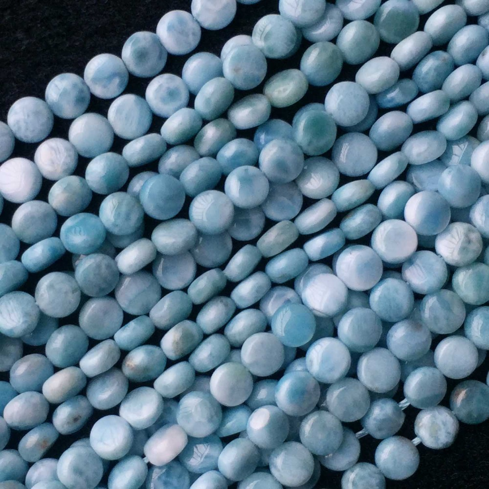 Dominicana AAA High Quality Natural Genuine Blue Larimar Flat Disc Coin Small Beads 15 05848Dominicana AAA High Quality Natural Genuine Blue Larimar Flat Disc Coin Small Beads 15 05848